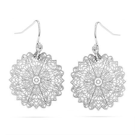 Shimmering Detailed Snowflake Drop Earrings with Fishhook Posts