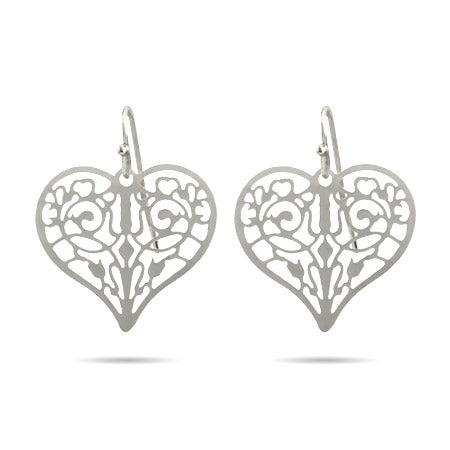 Pretty Filigree Heart Drop Earrings | Eve's Addiction®