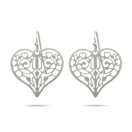 Pretty Filigree Heart Drop Earrings | Eve's Addiction®