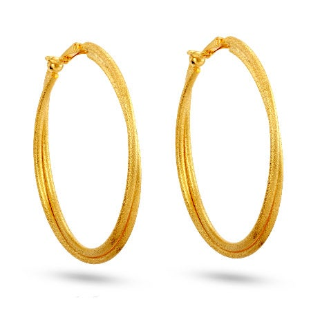 Gold Frosted Clip On Hoop Earrings | Eve's Addiction®