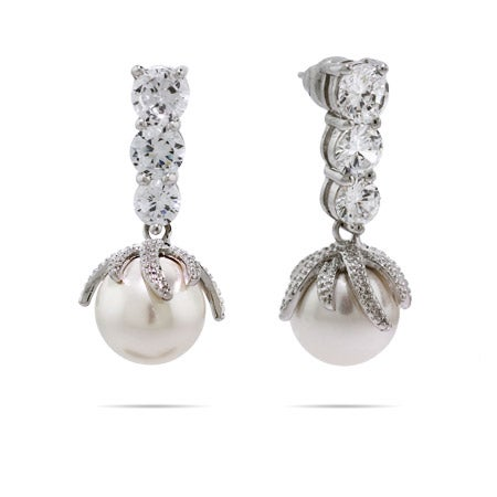 Classy Sparkling CZ Pearl Drop Earrings | Eve's Addiction®