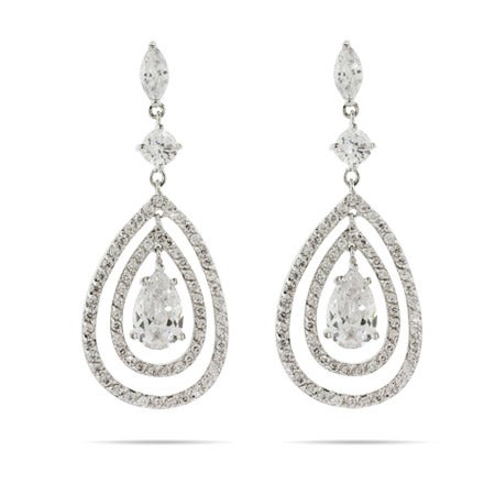 Red Carpet Style Triple Teardrop CZ Earrings | Eve's Addiction®