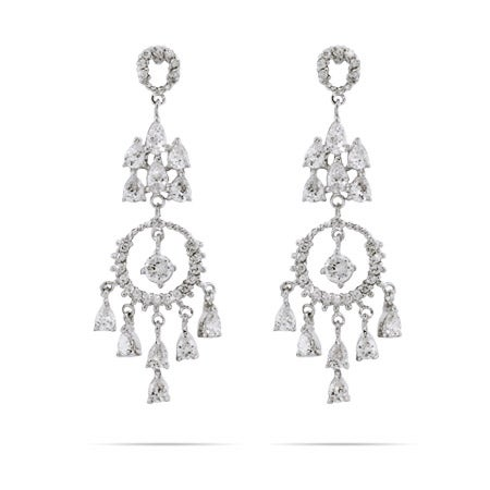 Elegant Circle and Teardrop Chandelier Earrings | Eve's Addiction®