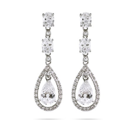 Double Teardrop with Oval Cut CZ Earrings | Eve's Addiction