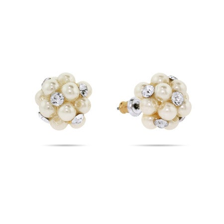 Pearl & CZ Cluster Stud Earrings | Eve's Addiction®