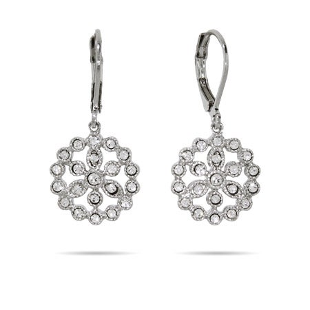 Pretty Sparkling Flower Drop Earrings | Eve's Addiction®