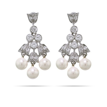 CZ and Pearl Tulip Dangle Earrings | Eve's Addiction®