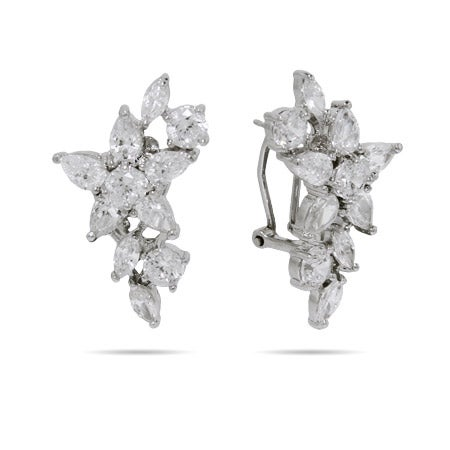 Diamond CZ Flower Cocktail Earrings | Eve's Addiction®