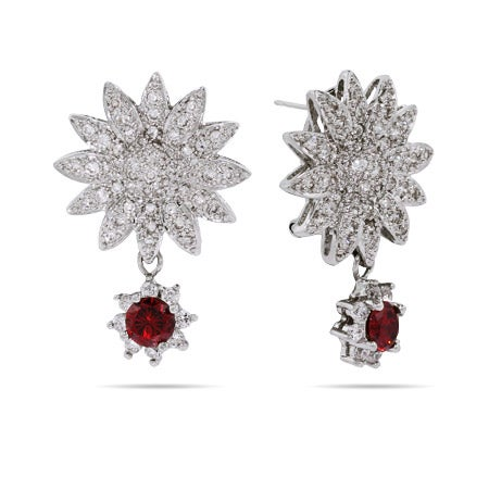 Glamorous Garnet Dangle CZ Sunflower Earrings | Eve's Addiction®