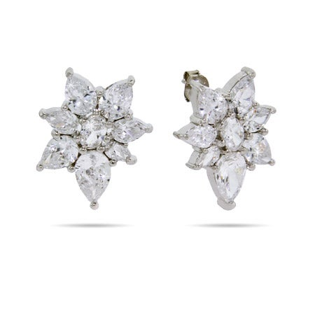 Sparkling Diamond CZ Flower Stud Earrings | Eve's Addiction®