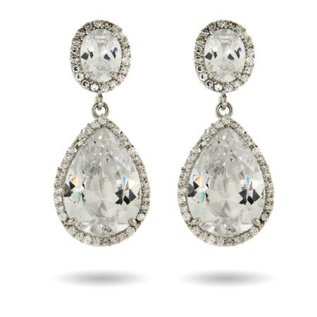 Peardrop with Oval CZ Earrings | Eve's Addiction®