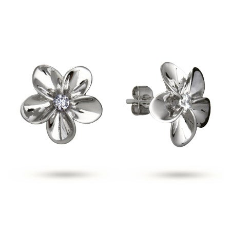 Beautiful Plumeria CZ Stud Earrings | Eve's Addiction®