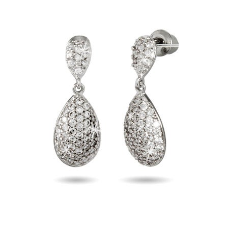 Sparkling Pave CZ Teardrop Earrings | Eve's Addiction®