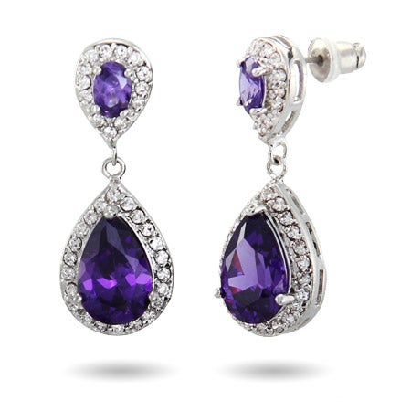 Dazzling Amethyst CZ Teardrop Earrings | Eve's Addiction®