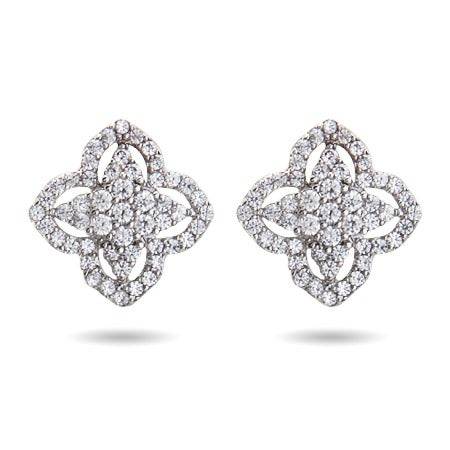 Vintage  Style CZ Clover Earrings | Eve's Addiction