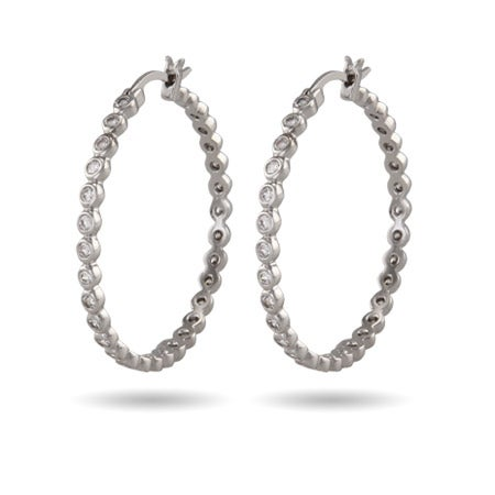 1.25 Sparkling CZ Bezel Hoop Earrings | Eve's Addiction®