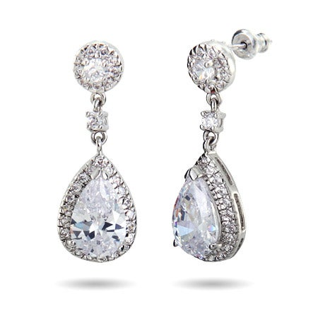 Sparkling Pearcut CZ Drop Earrings | Eve's Addiction®