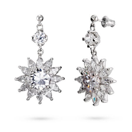 Dangled Flower Diamond CZ Earrings