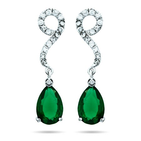 Scroll Drop CZ Pearcut Emerald Earrings | Eve's Addiction®