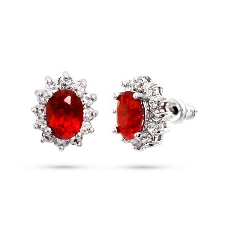 Elegant Oval Ruby CZ Stud Earrings | Eve's Addiction®
