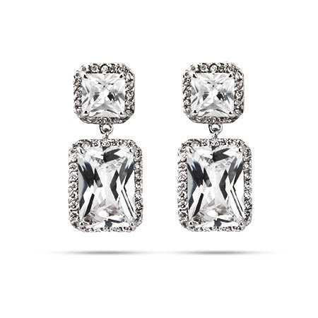 Sparkling Emerald Cut CZ Dangle Earrings | Eve's Addiction®