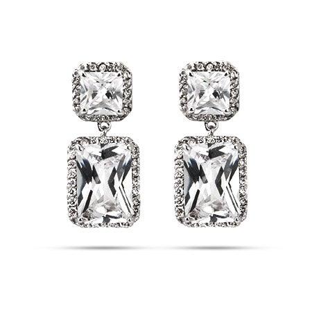 Sparkling Emerald Cut CZ Dangle Earrings   Eve's Addiction®
