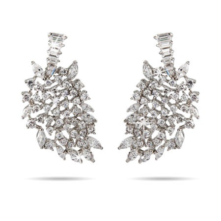 CZ Leaf Design Cocktail Earrings | Eve's Addiction®