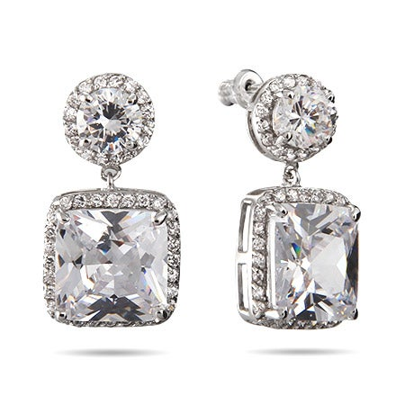 Glamorous Cushion Cut CZ Dangle Earrings | Eve's Addiction®