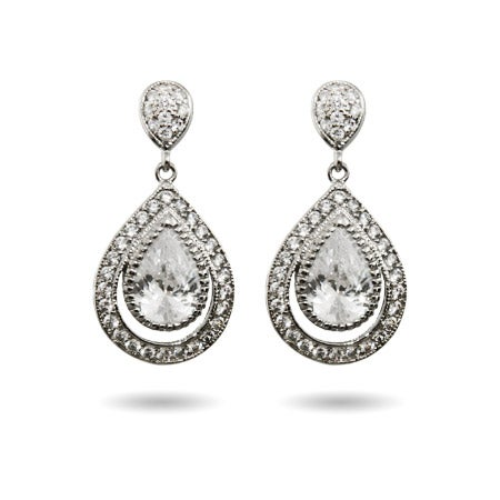 Sparkling Micropave CZ Peardrop Earrings | Eve's Addiction®