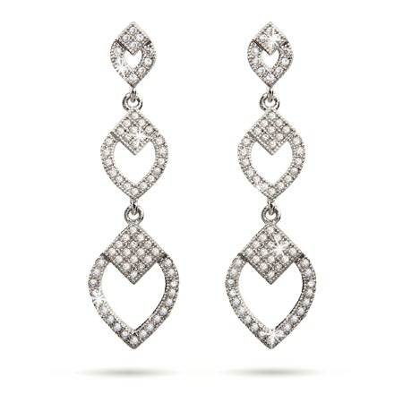 Vintage Deco Style Micropave CZ Diamond Dangle Earrings | Eve's Addiction®