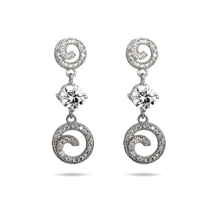 Elegant Circle Drop Micro Pave CZ Earrings | Eve's Addiction®