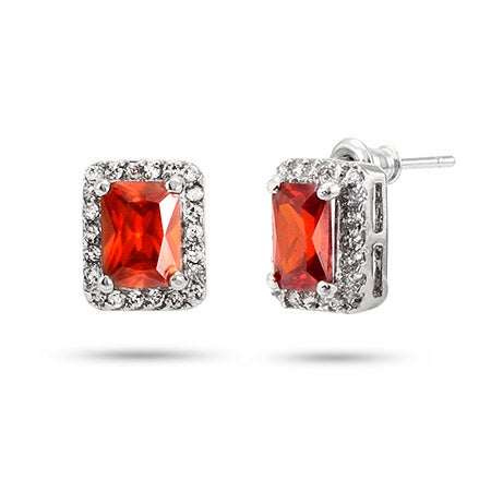 Red and Clear Emerald Cut CZ Stud Earrings