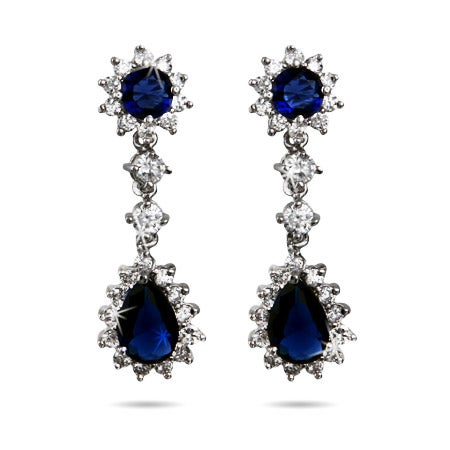 Stunning Royal Sapphire CZ Peardrop Earrings | Eve's Addiction®