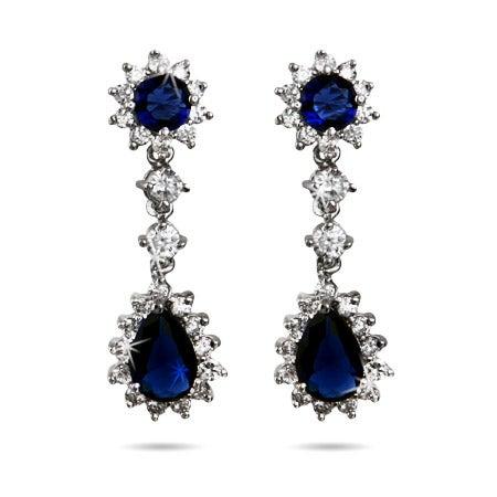 Stunning Royal Sapphire CZ Peardrop Earrings | Eve's Addiction®