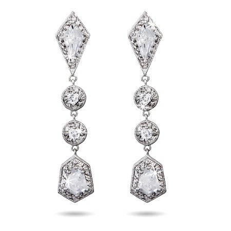 Beautiful Long Drop Multi-Shape CZ Earrings | Eve's Addiction®