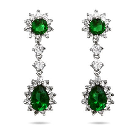 Stunning Emerald CZ Peardrop Earrings | Eve's Addiction®