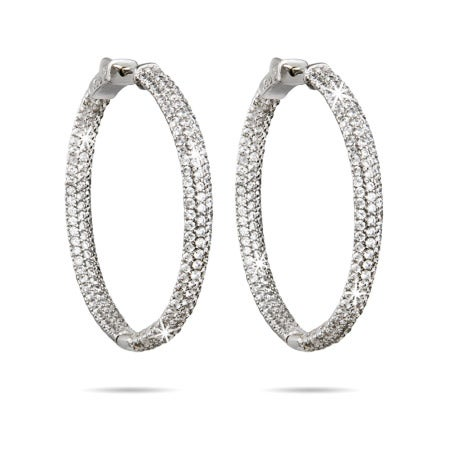 "1.75"" Inside Outside Pave CZ Hoop Earrings 