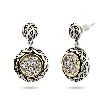 Renaissance Style Round Pave Drop CZ Earrings