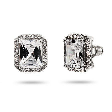 4 Carat Emerald Cut CZ Stud Earrings | Eve's Addiction®