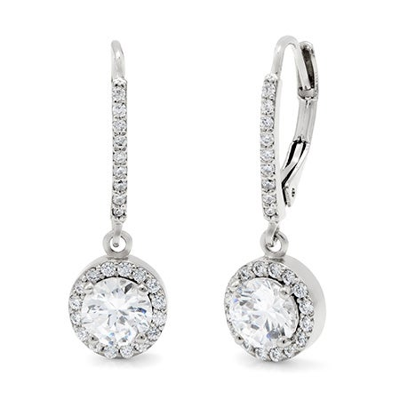 Classic Style Brilliant Cut CZ Leverback Earrings | Eve's Addiction®
