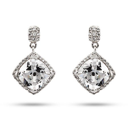 6 Carat Cushion Cut CZ Dangle Earrings | Eve's Addiction®