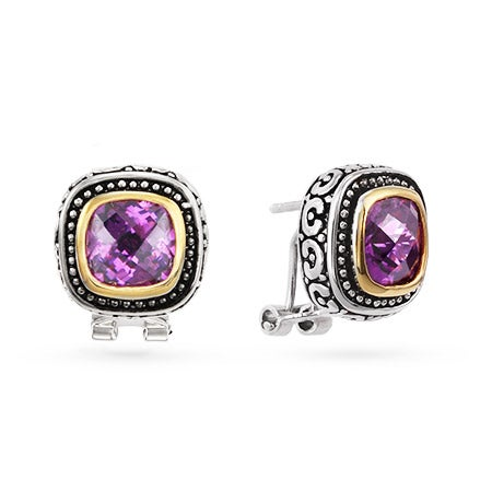 Designer Style Omega Clip Amethyst CZ Earrings | Eve's Addiction®