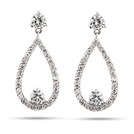 Lovely Teardrop CZ Dangle Earrings