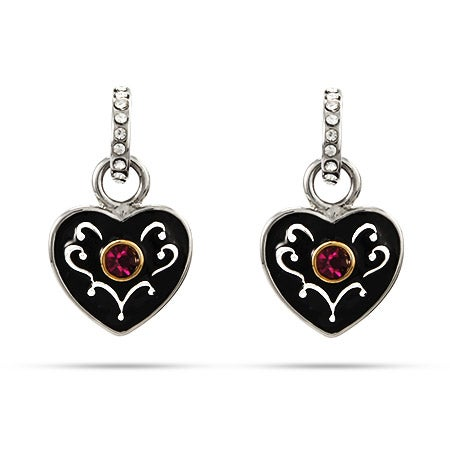 Delicate Black Enameled Heart Earrings with Amethyst CZ | Eve's Addiction®