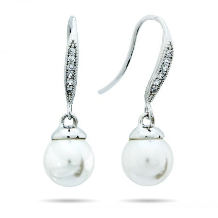 Freshwater Pearl CZ Dangle Earrings | Eve's Addiction®