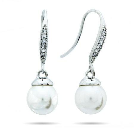 Freshwater Pearl CZ Dangle Earrings   Eve's Addiction®