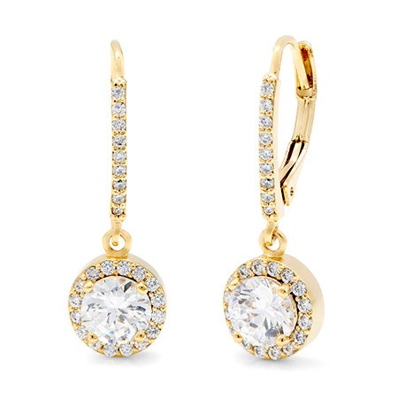 Classic Style Gold Plated Brilliant Cut CZ Leverback Earrings | Eve's Addiction®