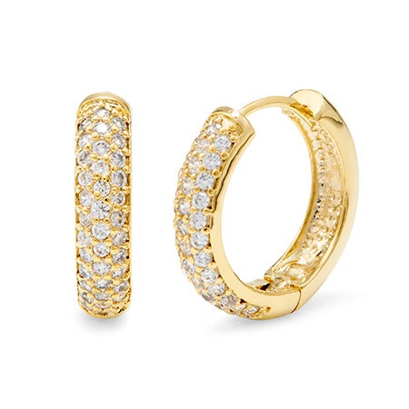 Gold Plated Hoop Earrings with CZ Pave Design | Eve's Addiction®