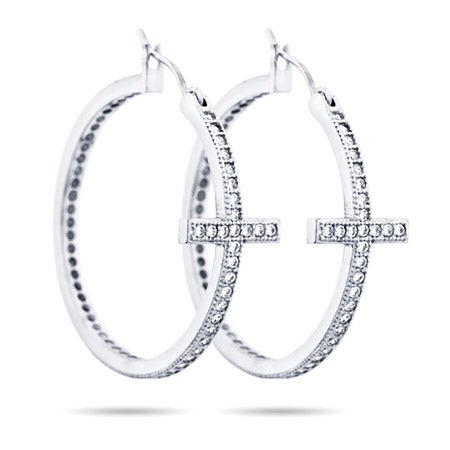 Sideways Cross CZ Hoops Earrings | Eve's Addiction®