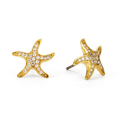 Gold Starfish CZ Stud Earrings | Eve's Addiction®